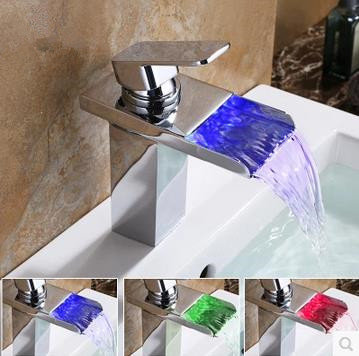 Contemporary Solid Brass Single Handle LED Waterfall Bathroom Sink Faucet Chrome Finish TP0510F