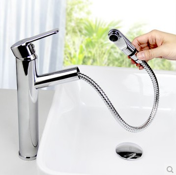 Contemporary Single Handle Brass Mixed Pull-out Bathroom Sink Faucet HP3101