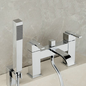 Contemporary Double Handles Bridge Solid Brass Tub Faucet with Hand Shower T0215