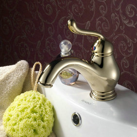 Ti-PVD Finish Antique Style Bathroom Sink Faucet T0408G