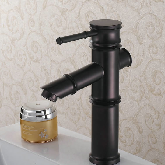 Oil-rubbed Bronze Finish Bathroom Sink Faucet -Bamboo Shape Design T0418B