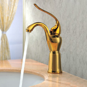 Classic Ti-PVD Finish Solid Brass Bathroom Sink Faucet T0420G