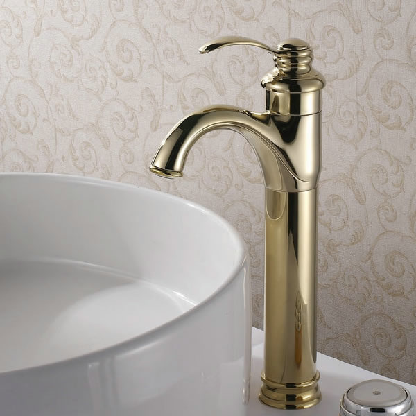 Classic Solid Brass Bathroom Sink Faucet (Ti-PVD Finish) T0426G