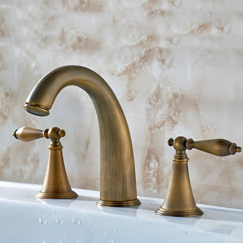 Antique Brass Finish Widespread Bathroom Sink Faucet T0453A