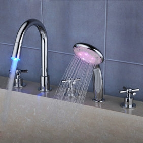 Contemporary Color Changing LED Waterfall Widespread Tub Faucet with Hand Shower T0464F
