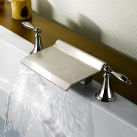 Nickel Brushed Waterfall Widespread Bathtub Faucet T0476