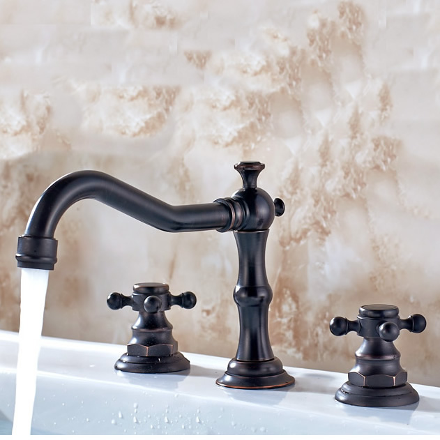 Vintage Style Oil-rubbed Bronze Finish Double Handles Brass Bathroom Sink Faucet TP0477OR