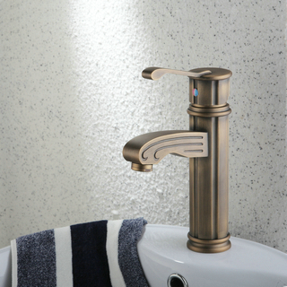 Single Handle Centerset Antique Brass Finish Wood-like Bathroom Sink Faucet TP0486