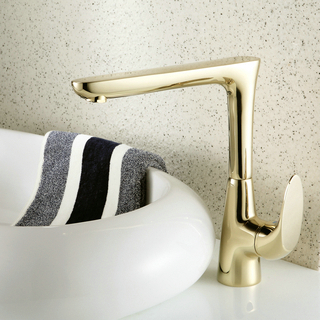 Contemporary Single Handle Centerset Bathroom Sink Faucet Ti-PVD Finish TP0490G