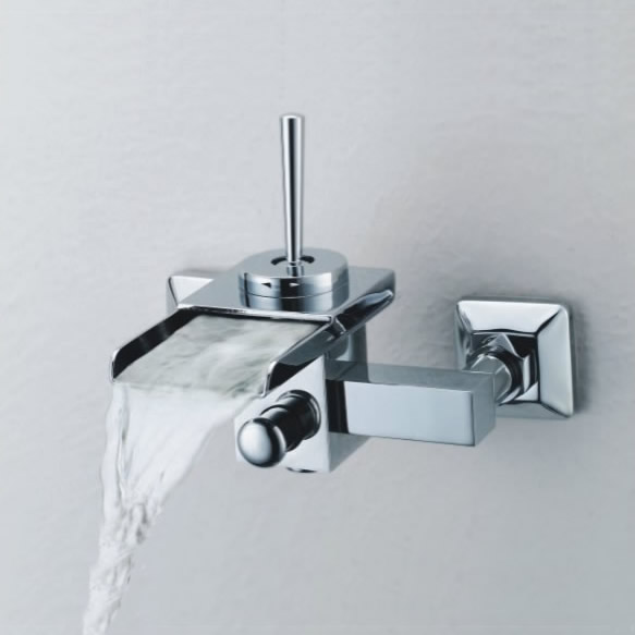 Single Handle Wall-Mount Waterfall Bathroom Sink Faucet or Bathtub Faucet (T0510_1W)
