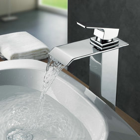 Contemporary Brass Waterfall Bathroom Sink Faucet (Tall) T0518H