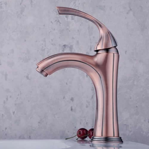 Classic Solid Brass Bathroom Sink Faucet - Antique Copper Finish T0519B