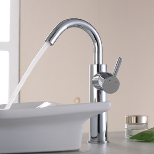 Chrome Finish Solid Brass Bathroom Sink Faucet (Tall)T0542H