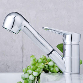 Solid Brass Pull Out Kitchen Faucet Chrome Finish T0544