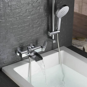 Contemporary Single Handle Wall-mount Waterfall Shower Set Faucet - T0556W
