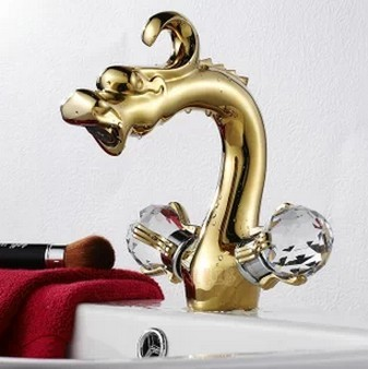 Antique Golden Color Dragon shape Bathroom Sink Faucet - Ti-PVD Finish T0570G