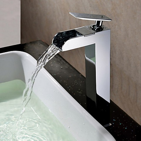 Contemporary Waterfall Chrome Finish Bathroom Sink Faucet (Tall) TQ0608