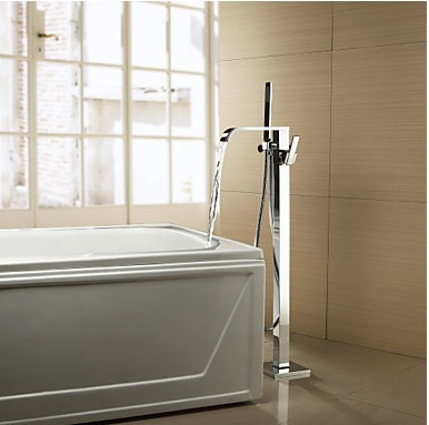 Solid Brass Floor Standing Tub Faucet with Hand Shower Chrome Finish TP0718FS
