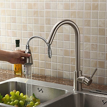 Pull Out Solid Brass Kitchen Faucet - Nickel Brushed Finish T0759