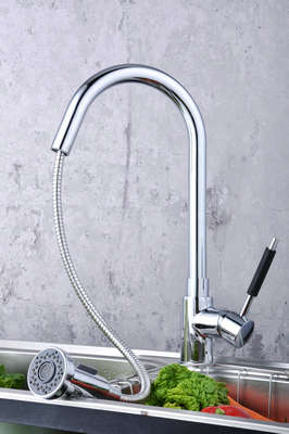 Contemporary Solid Brass Pull Down Kitchen Faucet (Chrome Finish)T0784-2