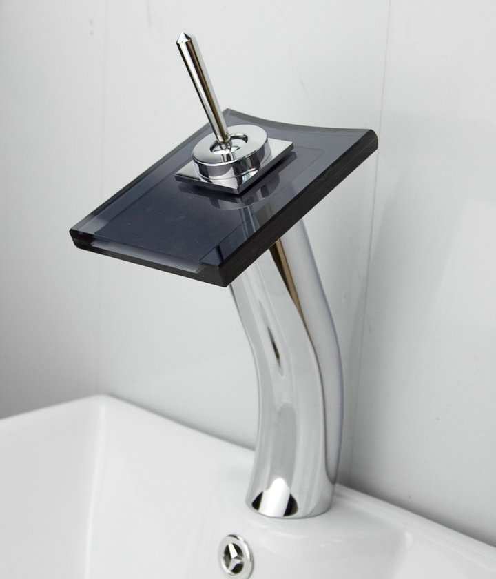 Contemporary Waterfall Bathroom Sink Faucet with Glass Spout T0801BH