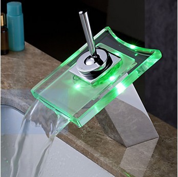 Contemporary Color Changing LED Glass Spout Waterfall Bathroom Sink Faucet - T0815-1F