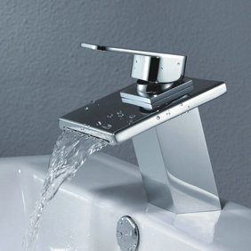 Contemporary Waterfall Bathroom Sink Faucet T0815BR