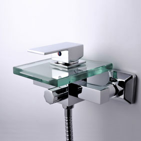 Waterfall Tub Faucet with Glass Spout Wall Mount T0815W