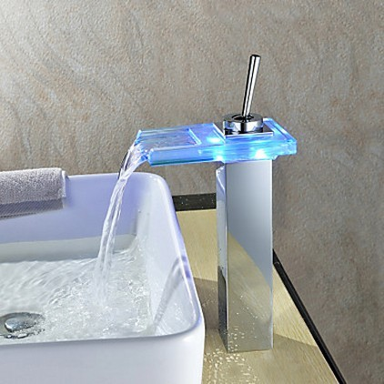 Waterfall Color Changing LED Bathroom Sink Faucet Tall T0818-1HF