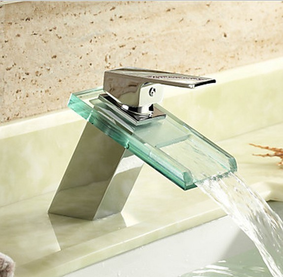 Waterfall Chrome Finish Bathroom Sink Faucet Mixer with Glass Spout T0818