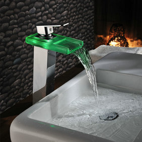 Chrome Color Changing LED Waterfall Bathroom Sink Faucet T0818HF