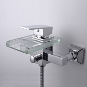 Contemporary Waterfall Tub Faucet with Glass Spout (Wall Mount)T0818W