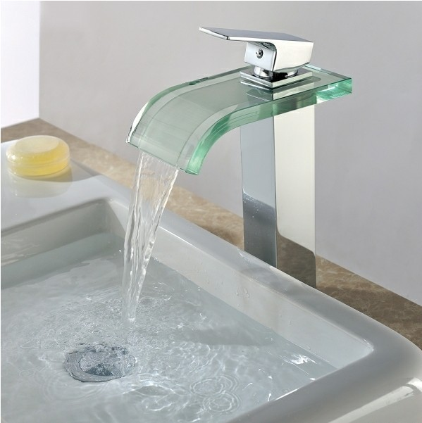 Single Handle Chrome Waterfall Bathroom Sink Faucet T0822H