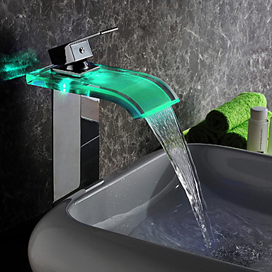 Contemporary LED Waterfall Glass Tall Bathroom Sink Faucet - T0822HF