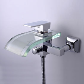 Single Handle Waterfall Wall-Mount Chrome Glass Bathtub Faucet (T0822W)