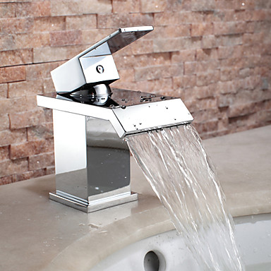 Broad Spout Contemporary Chrome Finish Waterfall Centerset Bathroom Sink Faucet T0825