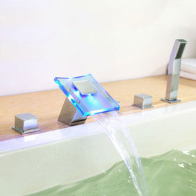 Contemporary Color Changing LED Hydropower Waterfall Widespread Tub Faucet T0827FW