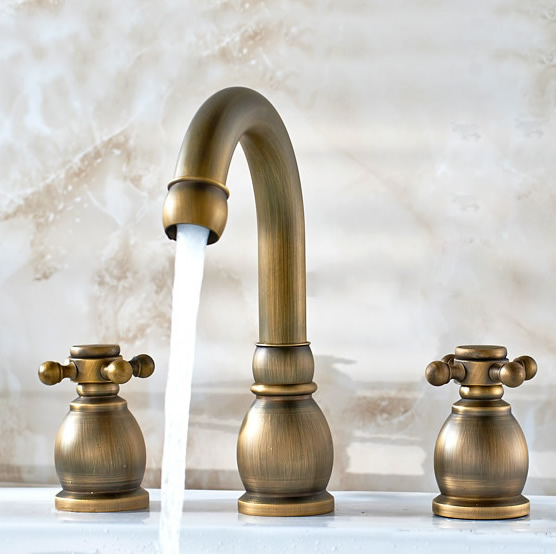 Antique Brass Widespread Bathroom Sink Faucet T1808K