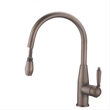 Antique Brass Finish Pull Out One Hole One Handle Kitchen Faucet AQ9406
