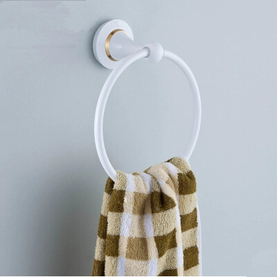 Brass Roasted white Porcelain Bathroom Towel Ring Single TCB5330