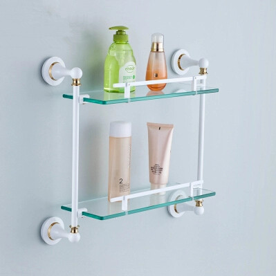 Brass Double Roasted White Porcelain with Tempered Glass Bathroom Shelves TCB8008