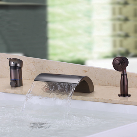 Waterfall Design Antique Oil-rubbed Bronze Bathtub Faucet With Hand Shower T3001OR