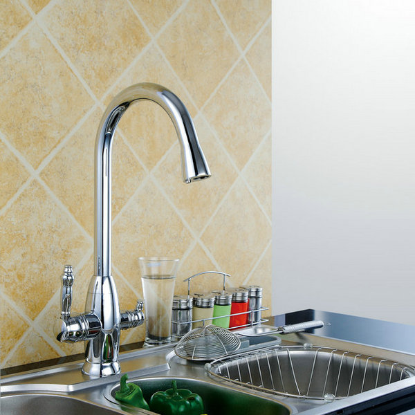 Modern Design Two Handles Mixer Kitchen Faucet T3002