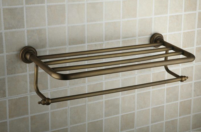 Antique Brass 24 Inch Bathroom Shelf With Towel Bar TAB2004