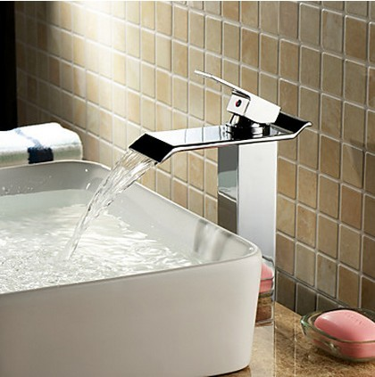 Contemporary Brass Bathroom Sink Faucet - Chrome Finish (Tall) T6001H