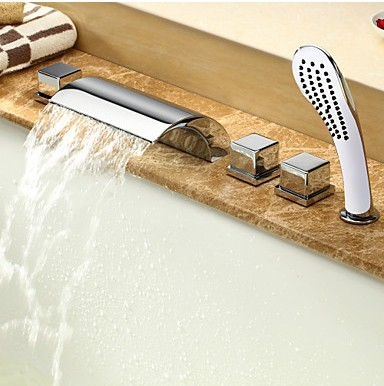 Contemporary Two Handles Waterfall Tub Faucet with Hand Shower T6025C