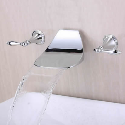 Contemporary Widespread Waterfall Bathroom Sink Faucet (Chrome) T6036