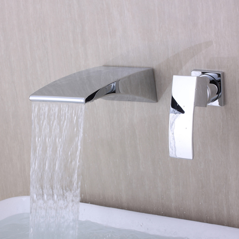 Contemporary Wall Mounted Waterfall Chrome Finish Bathroom Sink Faucet T6037