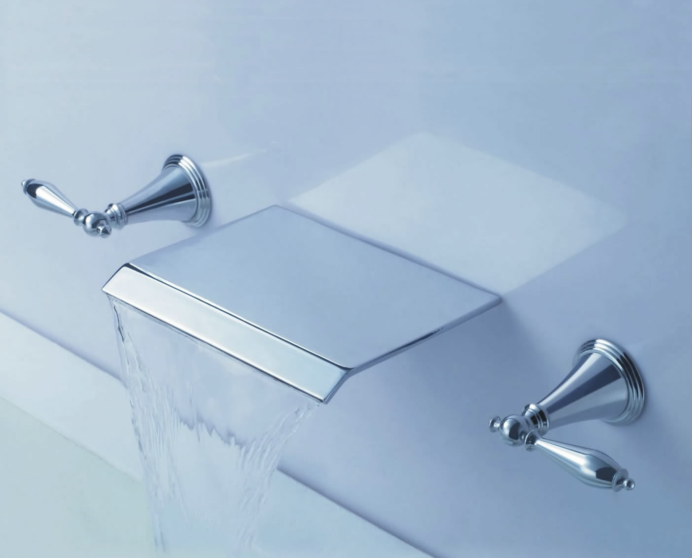 Contemporary Waterfall Bathroom Sink Faucet (Wall Mount) T7008B