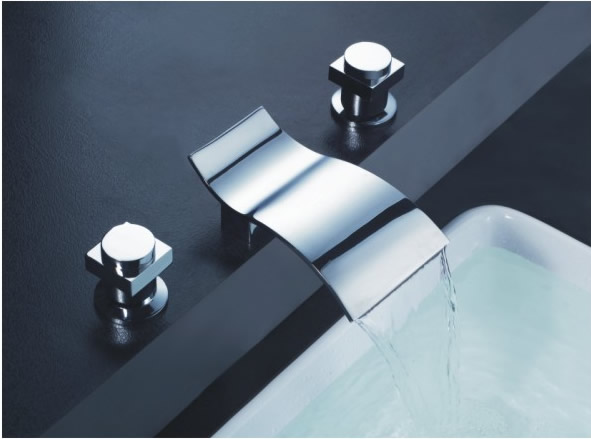 Contemporary Waterfall Bathroom Sink Faucet (Chrome Finish, Widespread) TP7709C